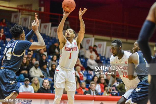 Radford Highlanders guard Carlik Jones shoots a shot during a game between the Charleston Southern Buccaneers and the Radford University Highlanders...