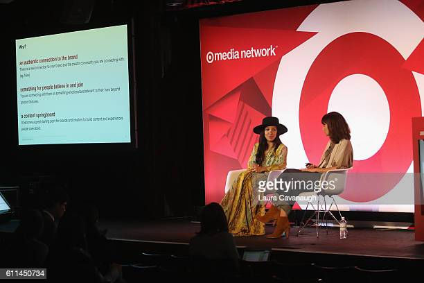 Radha Agrawal and Tiffany Rolfe speak onstage at the shared value how to build your brand with creator communities the right way panel at BB King...