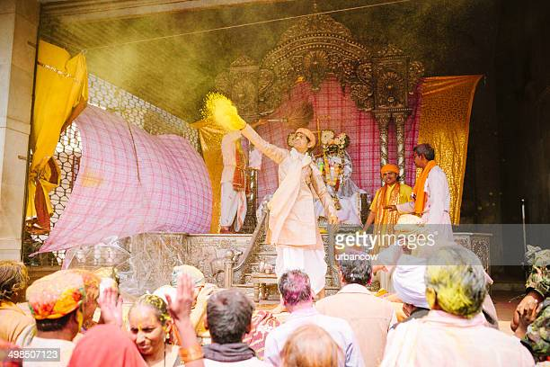 radha and krishna at holi - lord krishna stock photos and pictures
