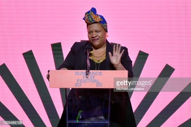 Radha Blank speaks onstage during the 2020 Sundance Film Festival Awards Night Ceremony at Basin Recreation Field House on February 01 2020 in Park...