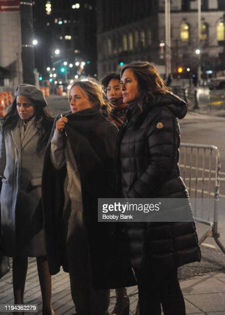 Radha Mitchell and Mariska Hargitay on set of Law Order Special Victims Unit on January 17 2020 in New York City