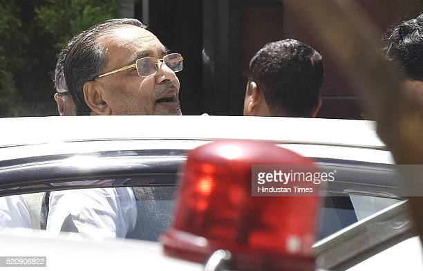 Radha Mohan Singh coming out after attending the Cabinet Meeting at PM Office South Block on April 13 2016 in New Delhi India The Union Cabinet which...