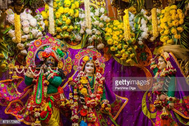 radha syamasundar at the temple on radhastami. vrindavan, india - lord krishna stock photos and pictures