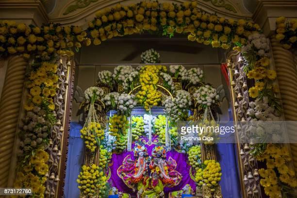 Radha Syamasundar bij de tempel op Radhastami. Vrindavan, India