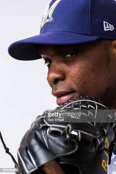 Radhames Liz of the Milwaukee Brewers poses for a portrait during Photo Day at the Milwaukee Brewers Spring Training Complex on February 22 2018 in...