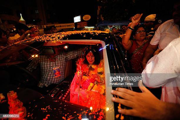 Radhe Maa selfproclaimed Godwoman visits Siddhivinayak Temple Prabhadevi on August 27 2012 in Mumbai India Radhe Maa has been accused of dowry...