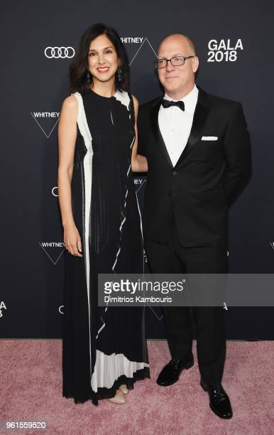 Radhika Jones and Max Petersen attends the 2018 Whitney Gala Sponsored By Audi on May 22 2018 at Whitney Museum of American Art in New York City