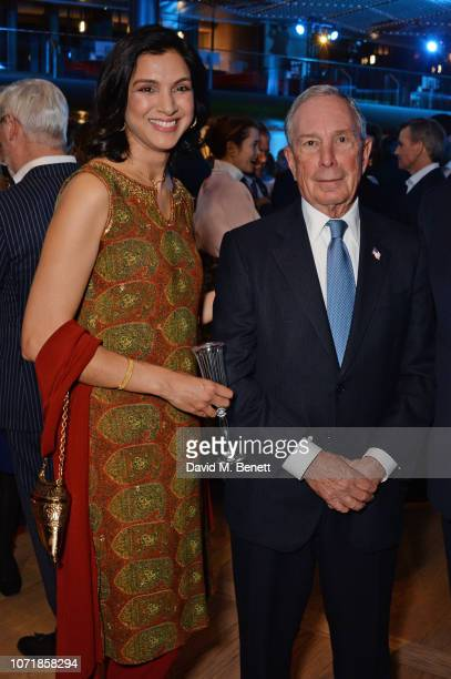 Radhika Jones and Michael Bloomberg attend the Bloomberg x Vanity Fair Climate Exchange gala dinner 2018 at Bloomberg London on December 11 2018 in...