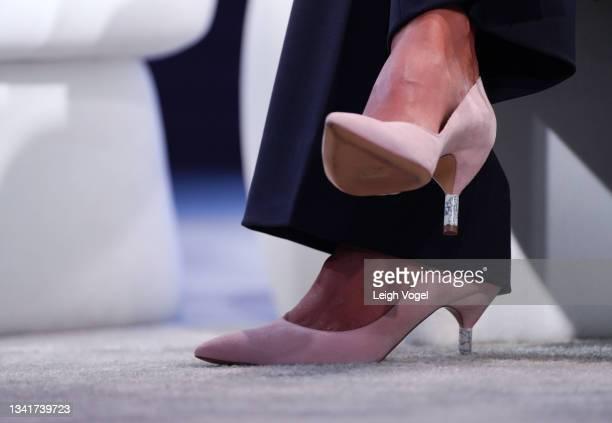Radhika Jones, Editor-in-Chief, Vanity Fair, speaks onstage, kitten heel shoe detail, during the 2021 Concordia Annual Summit - Day 2 at Sheraton New...
