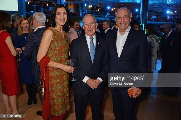 Radhika Jones Michael Bloomberg and David Reuben attend the Bloomberg x Vanity Fair Climate Exchange gala dinner 2018 at Bloomberg London on December...