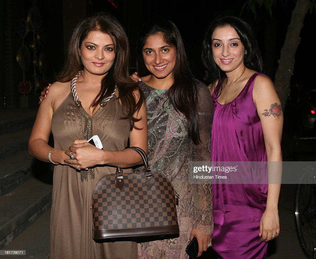 Radhika Mukherjee (C) and bollywood actress Sheeba (L) with Madhurima Nigam during the launch of Pradeep Jethani's flagship store 'Jet Gems' at Turner Road, Bandra on February 13, 2013 in Mumbai, India.