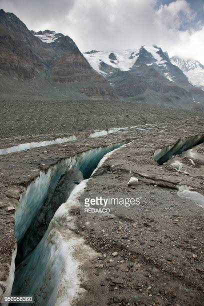 Radial crevasses of the glacier Pasterze near Grossglockner. The radial crevasse are the first signs of the collapsing of another glacier area and...
