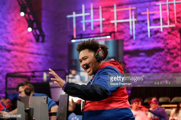 Radiant of 76ers Gaming Club reacts to a play during the game against TWolves Gaming Club during Game Four of the NBA 2K League Finals on August 3...