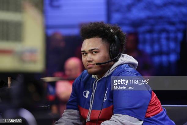 Radiant of 76ers Gaming Club stares on during the game against the Blazer5 Gaming during Week 4 of the NBA 2K League regular season on May 3 2019 at...