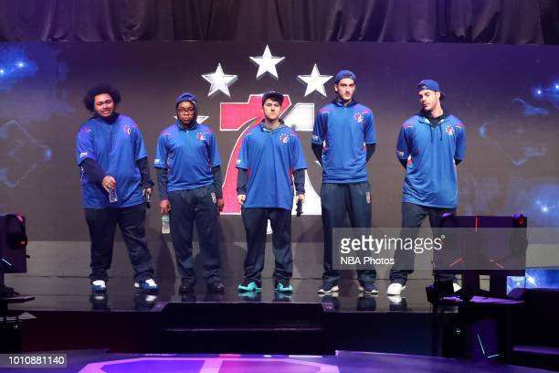 Radiant ZDS Newdini33 I F E A S T and Steez of 76ers Gaming Club are photographed prior to the game against Pistons Gaming Team on August 4 2018 at...