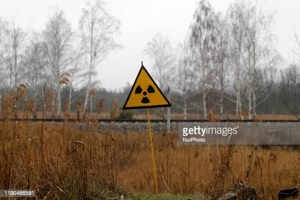 Radiation sign is seen in Chernobyl, Ukraine, on 25 December, 2019. The Chernobyl disaster on the Chernobyl nuclear power plant occurred on April 26,...