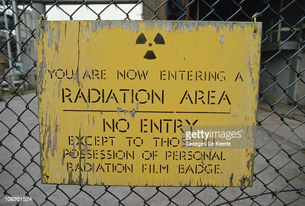 A radiation warning sign at the Sellafield nuclear processing plant in Cumbria December 1986
