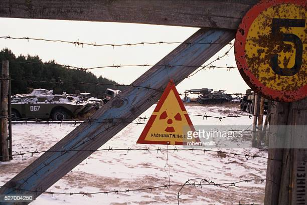 Radiation warning sign posted outside of Chernobyl