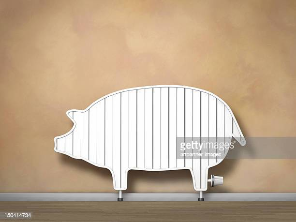 A radiator that looks like a piggy bank