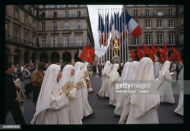 Radical French Catholics march during the Jeanne d'Arc Celebration in Paris