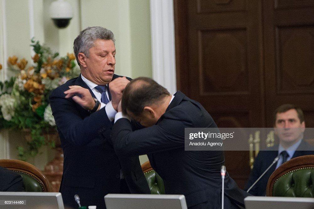 Fight at Ukrainian Parliament in Kiev : News Photo