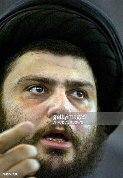 Radical Shiite cleric Moqtada Sadr speaks during a press conference at the Imam Ali shrine in the holy Shiite city of Najaf 12 May 2004 Sadr vowed to...