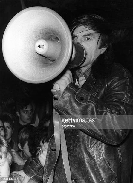 Radical student leader Rudi Dutschke using a megaphone during a demonstration in Frankfurt