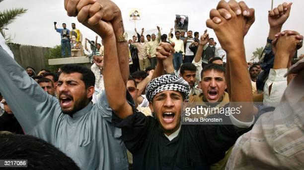 Radical supporters and militia of Shiite cleric Moqtada al-Sadr protest April 4, 2004 in the southern port of Basra, Iraq. A couple of thousand...