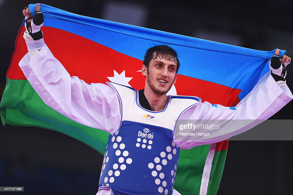 Radik Isaev of Azerbaijan celebrates winning gold against Vladislav Larin of Russia after the Men's +80kg Taekwondo gold medal final during day seven of the Baku 2015 European Games at the Crystal Hall on June 19, 2015 in Baku, Azerbaijan.