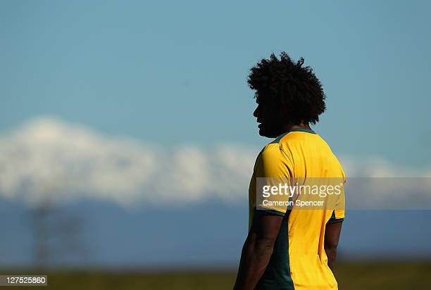 Radike Samo of the Wallabies looks on during an Australia IRB Rugby World Cup 2011 training session at Saxton Park Oval on September 29, 2011 in...