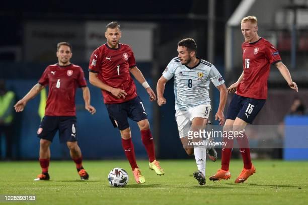Radim Breite of Czech Republic in action against John McGinn of Scotland during the UEFA Nations League soccer match between Czech Republic and...
