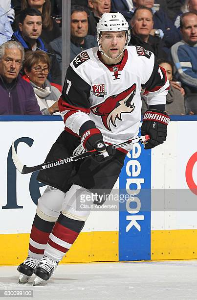 Radim Vrbata of the Arizona Coyotes skates against the Toronto Maple Leafs during an NHL game at the Air Canada Centre on December 15 2016 in Toronto...