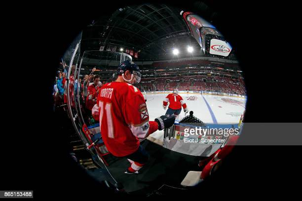 Radim Vrbata of the Florida Panthers heads out to the ice for warm ups against the Pittsburgh Penguins at the BBT Center on October 20 2017 in...