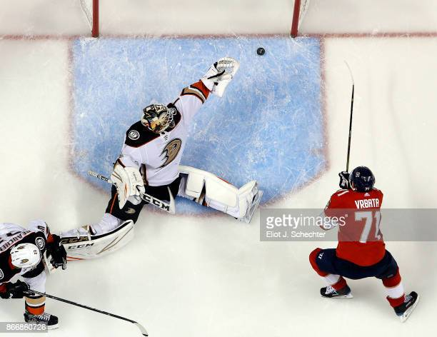 Radim Vrbata of the Florida Panthers scores his third goal of the game for a hat trick against Goaltender Reto Berra of the Anaheim Ducks at the BBT...