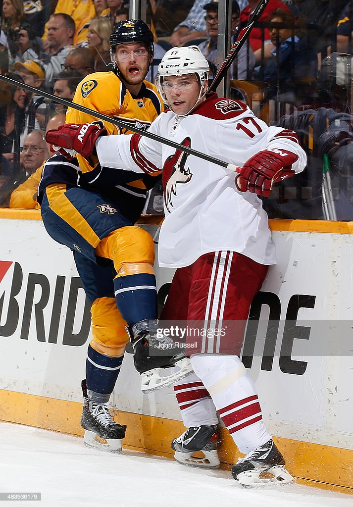 Radim Vrbata #17 of the Phoenix Coyotes skates against Mattias Ekholm #42 of the Nashville Predators during an NHL game at Bridgestone Arena on April 10, 2014 in Nashville, Tennessee.