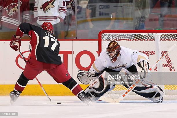Radim Vrbata of the Phoenix Coyotes skates in to score a shoot out goal against goaltender Jonas Hiller of the Anaheim Ducks during the NHL game at...