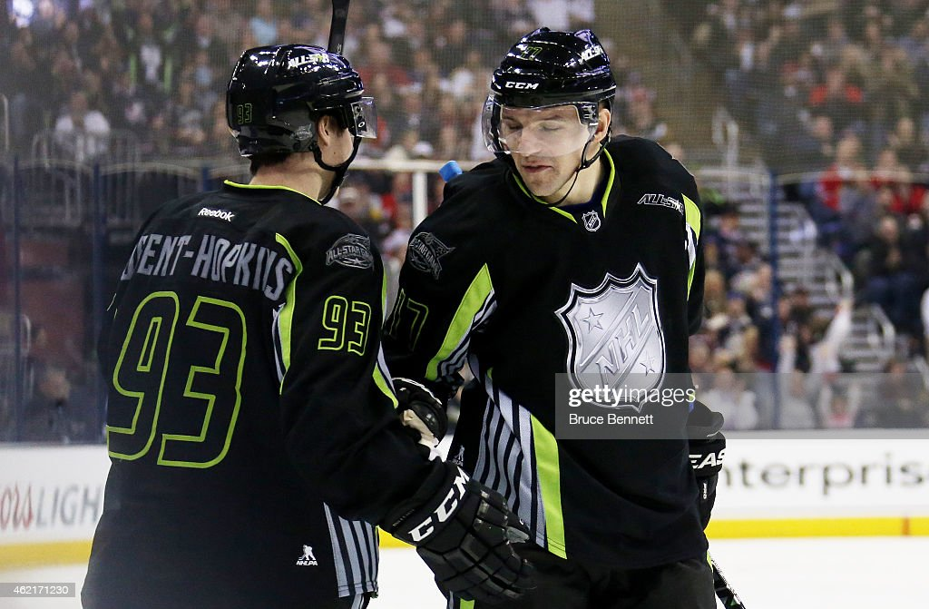 Radim Vrbata #17 of the Vancouver Canucks and Team Foligno celebrates after scoring a goal in the first period against Roberto Luongo #1 of the Florida Panthers and Team Toews during the 2015 Honda NHL All-Star Game at Nationwide Arena on January 25, 2015 in Columbus, Ohio.