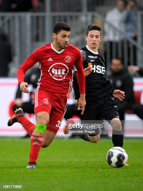 Radinio Balker of Almere City Robin Schouten of FC Volendam during the Dutch Keuken Kampioen Divisie match between Almere City v FC Volendam at the...
