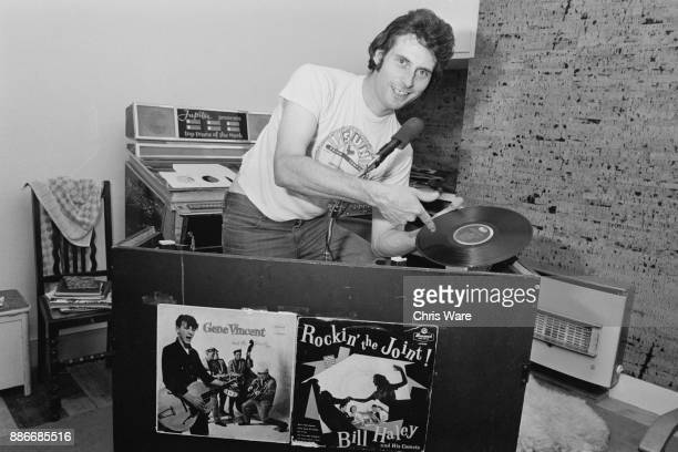 BBC Radio 1 disc jockey Stuart Colman at the record table in his home in Thames Ditton Surrey August 1976 Colman was given a job by the BBC after he...
