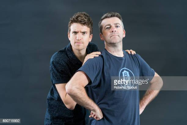 Radio 1 DJs Greg James and Chris Smith attend a photocall during the annual Edinburgh International Book Festival at Charlotte Square Gardens on...