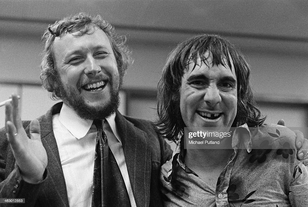 BBC Radio 1 producer and presenter John Walters (1939 - 2001, left) with drummer Keith Moon (1946 - 1978) of The Who, 11th July 1973.