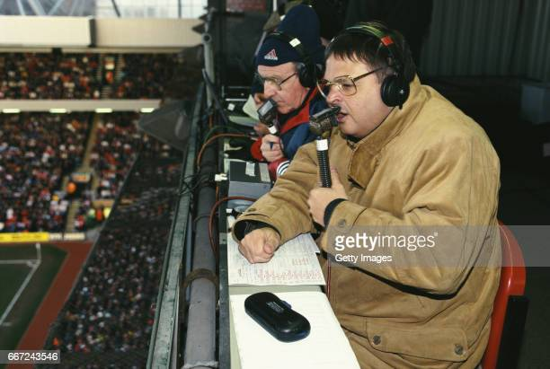 Radio 5 Broadcaster Alan Green in action with summariser Jimmy Armfield during a Premier League match between Liverpool and Middlesbrough at Anfield...