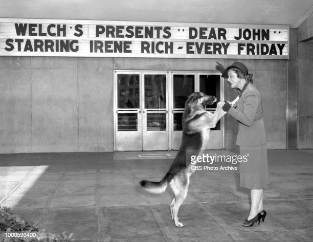 Radio actress Irene Rich at CBS KNX radio studios at Columbia Square, Hollywood, CA. She portrays the character Faith Chandler in Dear John, one of...