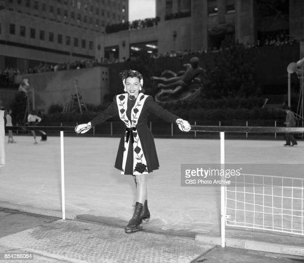 Radio actress Sammie Hill wears an ice skating outfit at Rockefeller Center skating rink She portrays Carol Bates in the soap opera Bright Horizon...