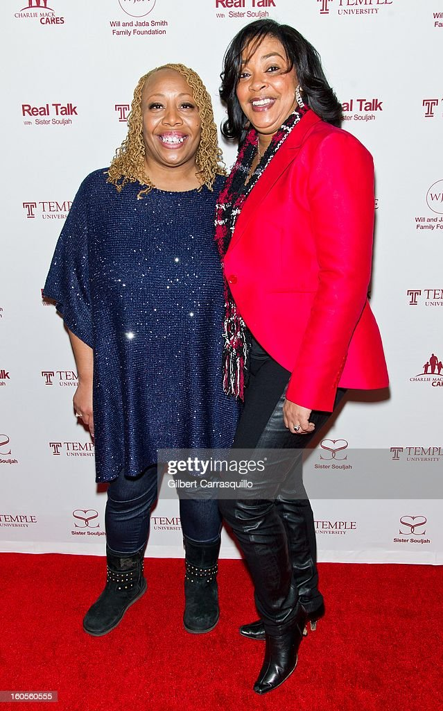 Radio Air Personality Patty Jackson and WRNB 100.3 FM Radio Air Personality Lady B attend Will Smith And Sister Souljah In Discussion: 'A Deeper Love Inside: The Porsche Santiaga Story' at Temple Performing Arts Center on February 2, 2013 in Philadelphia, Pennsylvania.