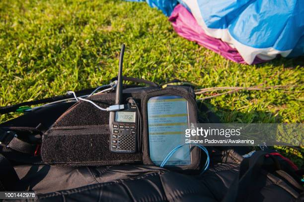 A radio and a GPS device with the flight of the son of Richard Butterworth is seen at the landing Area Boscherai after the training on July 18 2018...