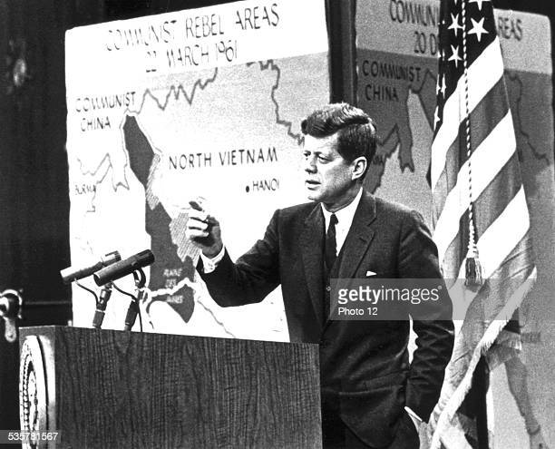 Radio and television broadcast during which John Kennedy annouces Communist penetration into Laos 20th century United States National archives...