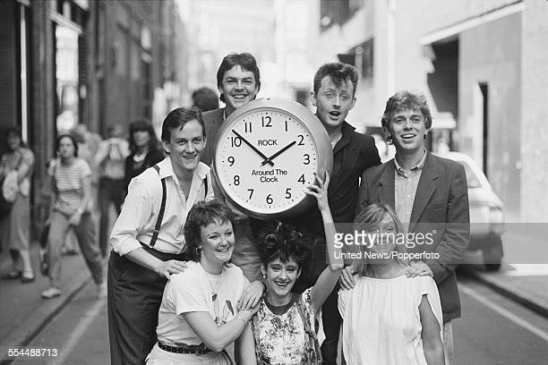 BBC radio and television broadcasters and presenters pictured together at a press event to launch the BBC television 'Rock Around the Clock' 15 hour...