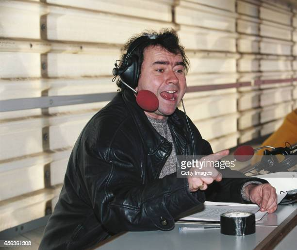 Radio and Television commentator Jonathan Pearce in action during a Premiership match between Middlesbrough and Chelsea at the Riverside Stadium on...