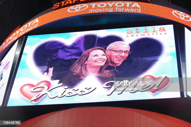 Radio and television personality Dr Drew Pinsky and his wife are shown on the Kiss Cam during a game between the Los Angeles Clippers and the Los...